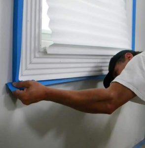 painters tape on windows