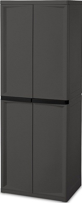 Sterilite 4 Shelf Cabinet, Flat Gray Cabinet. Best Garage Cabinet